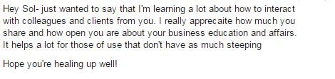 """A """"testimonial"""" I got via FB"""